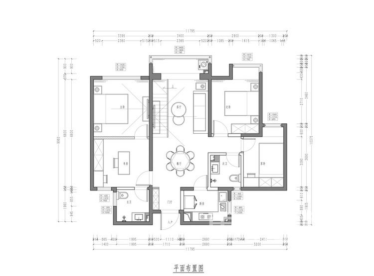 清凉山居112平米平面图 - 现代轻奢装修效果图 - 西安装修设计公司