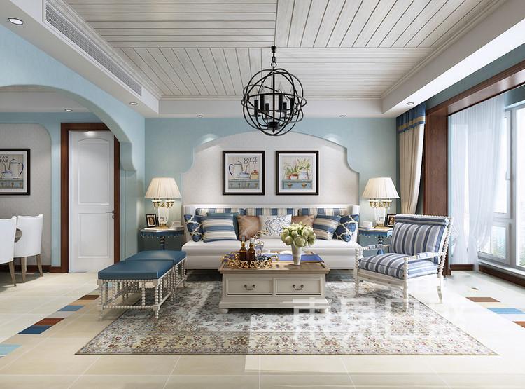 梁溪本源地中海风格装修效果图——客厅