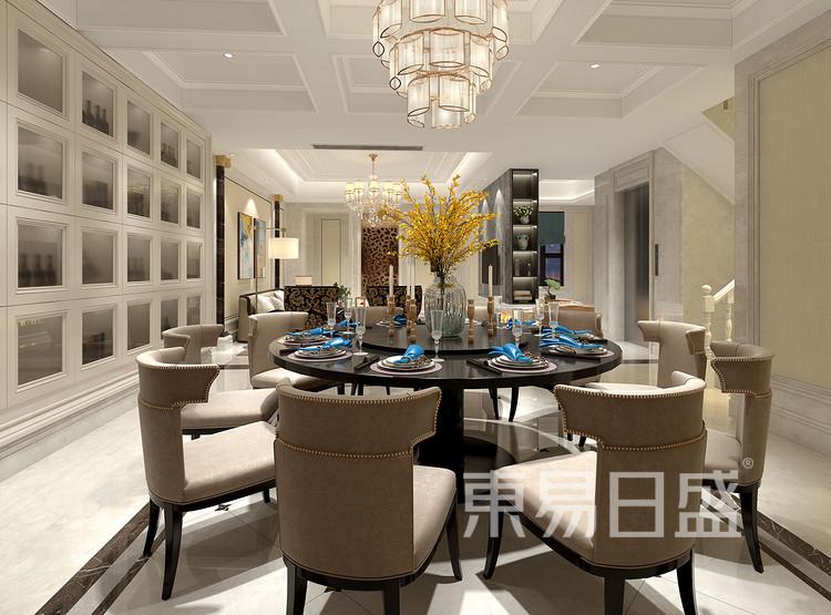 保利香槟国际350平别墅美式风格餐厅装修效果图