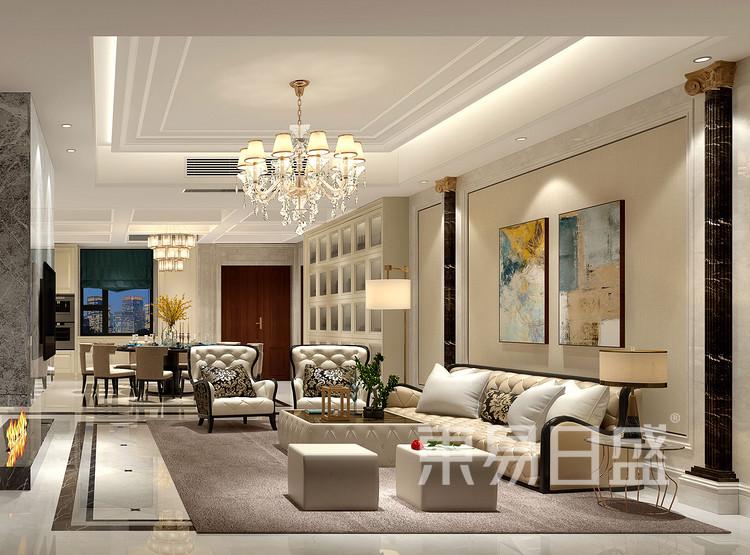 保利香槟国际350平别墅美式风格客厅装修效果图