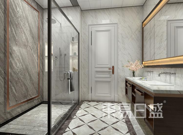 保利香槟国际350平别墅美式风格卫生间装修效果图