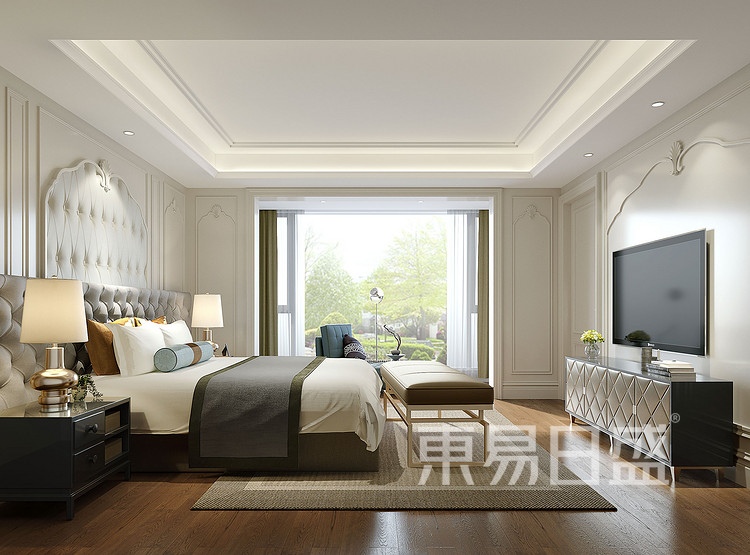 保利香槟国际350平别墅美式风格卧室装修效果图