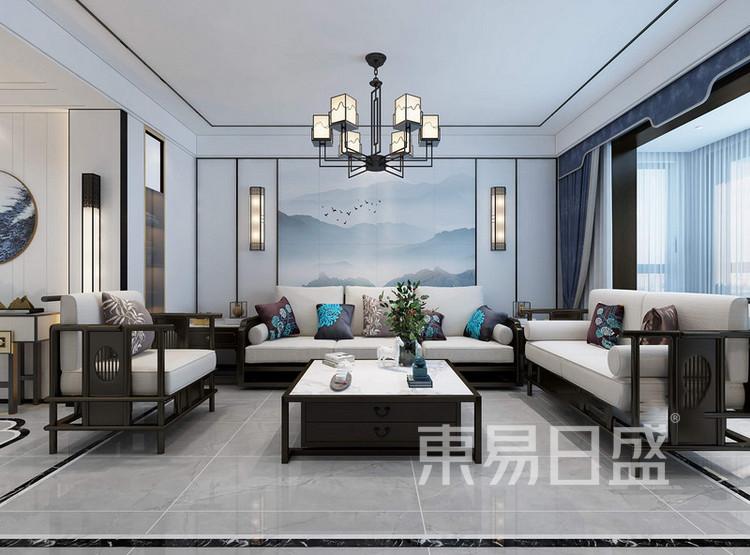 枫丹御园新中式风格装修效果图——客厅