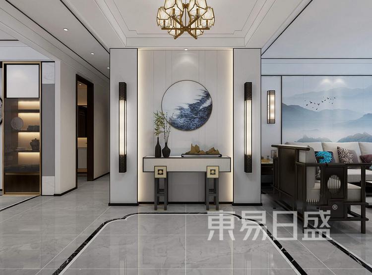 枫丹御园新中式风格装修效果图——玄关