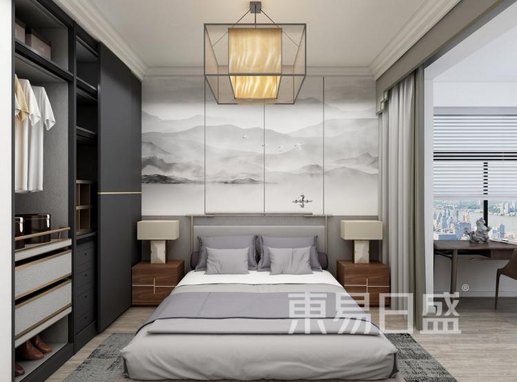 双湖林语装修案例-新中式风格-120平米卧室装修效果图
