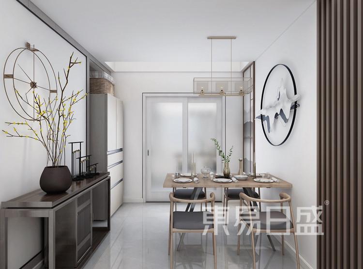 双湖林语装修案例-新中式风格-120平米餐厅装修效果图