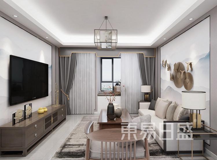 双湖林语装修案例-新中式风格-120平米客厅装修效果图
