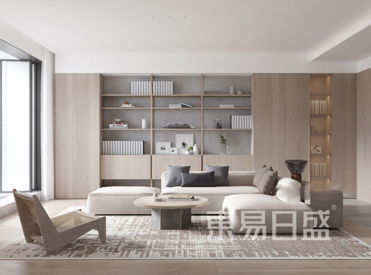 建发玖里湾新中式风格装修效果图——客厅