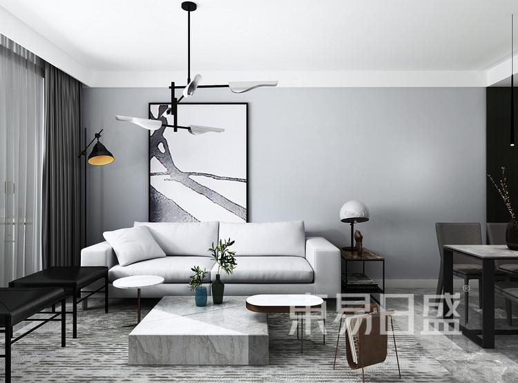 嘉邦小区90平二居室现代风格装修设计案例效果图——客厅