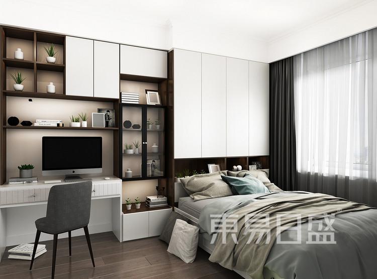 嘉邦小区90平二居室现代风格装修设计案例效果图——卧室
