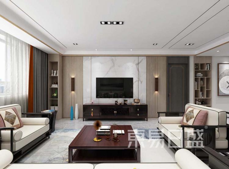 嘉邦小区120平三居室新中式风格装修设计——客厅