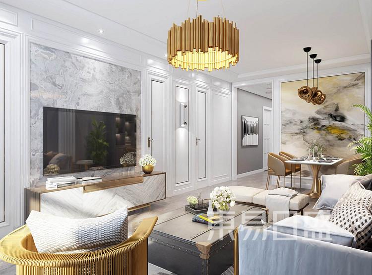 嘉邦小区100平三居室现代简约风格装修设计案例——客厅