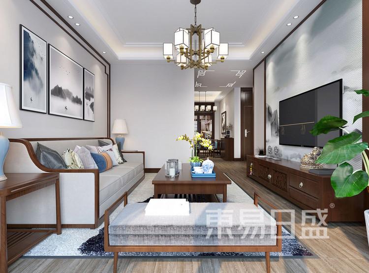 嘉邦小区92平新中式二居室装修设计案例——客厅