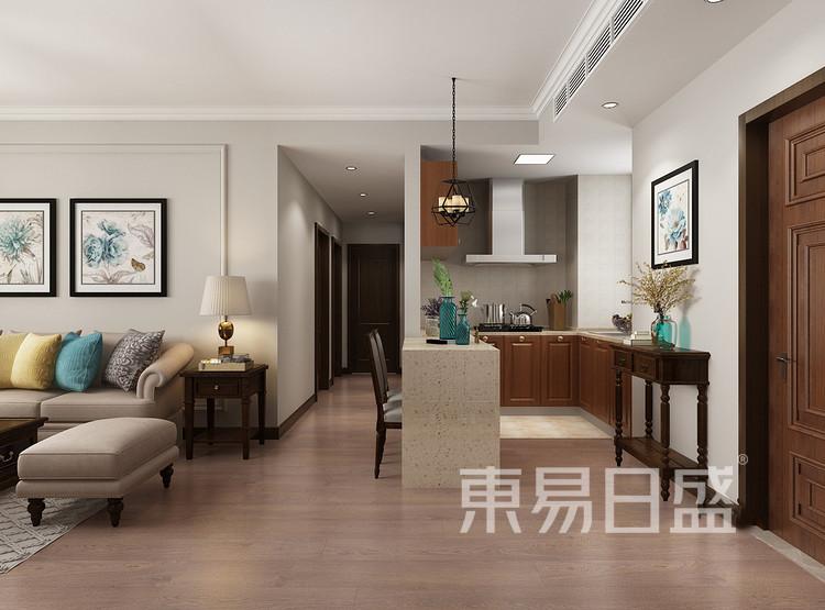 江杨家园88平二居室美式风格装修设计案例——客厅