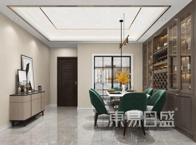 江杨家园95平三居室现代轻奢风装修案例——餐厅