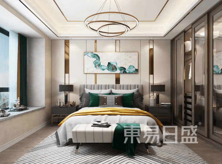 江杨家园95平三居室现代轻奢风装修案例——卧室