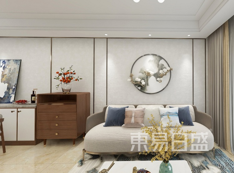 融创观澜壹号装修案例-新中式风格-客厅装修效果图