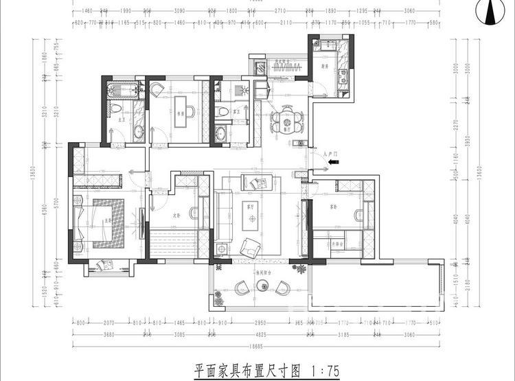 紫薇花园洲户型平面图 - 现代简约风格装修效果图 - 西安装修公司