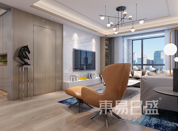 西安客厅装修 - 现代轻奢风格装修效果图 - 西安装修公司
