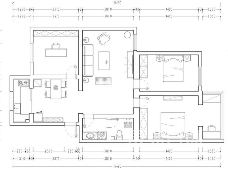 西安丰盛园户型平面图 -简欧风格装修效果图 - 西安装修公司