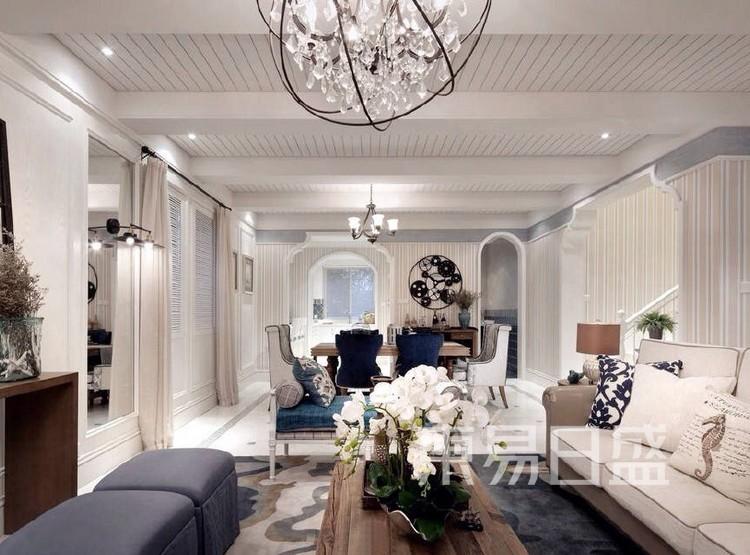珑璟轩140平米美式轻奢风格客厅装修效果图