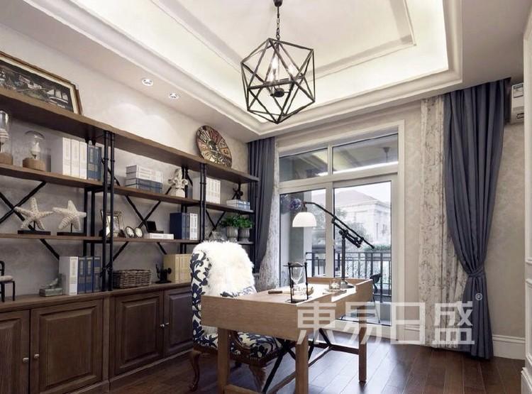 珑璟轩140平米美式轻奢风格书房装修效果图