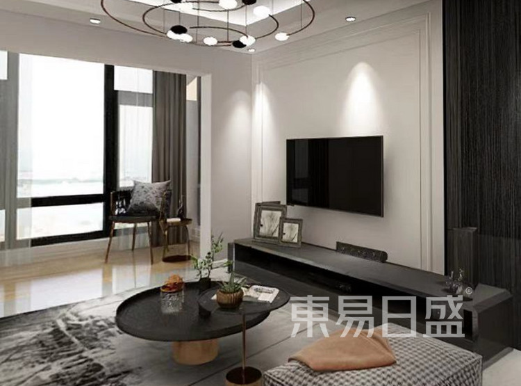 龙湖春江郦城装修案例-现代简约风格-客厅装修效果图
