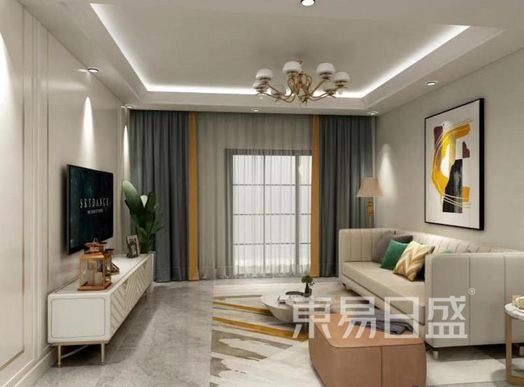 龙湖春江郦城装修案例-现代轻奢风格-客厅装修效果图