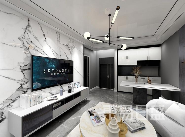 本案通过改造电视背景墙的墙体,把背景墙做到齐平统一,同时扩大卫生间的面积,保证卫生间后期的使用功能。