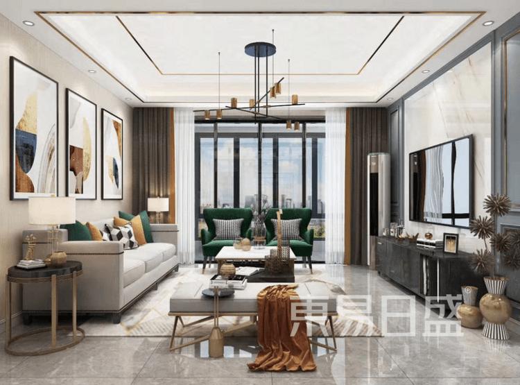 江杨家园95平轻奢风装修设计案例——客厅
