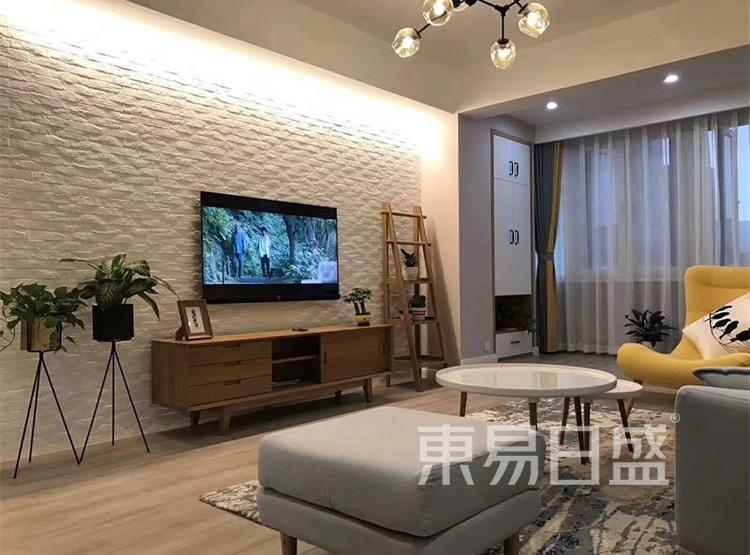 客厅装修效果图 - 现代简约风格装修效果图 - 90平米装修