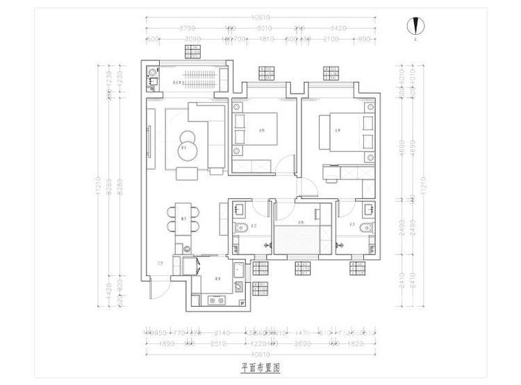 曲江九里户型平面图 - 现代轻奢装修风格 - 三室两厅装修
