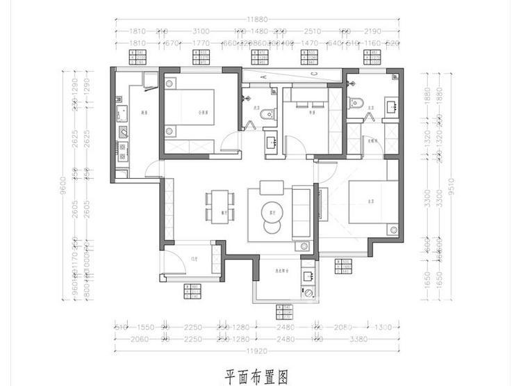 太奥广场户型平面图 - 三居室装修 - 西安装修公司