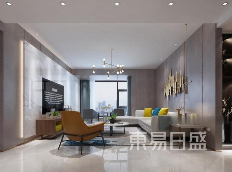 江杨家园90平三居室现代风装修设计——客厅
