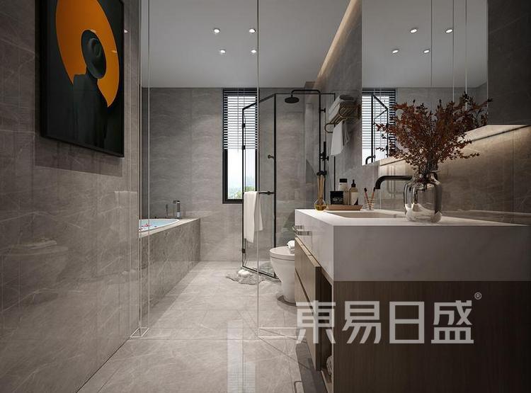 江杨家园110平三居室现代风装修设计案例效果图——卫生间