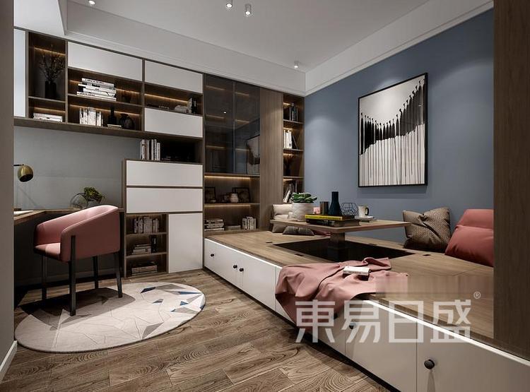 江杨家园110平三居室现代风装修设计案例效果图——书房