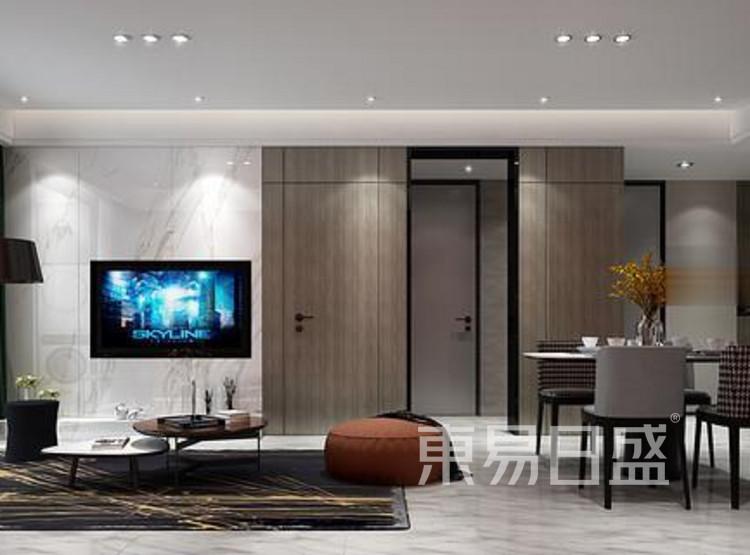 江杨家园110平三居室现代风装修设计案例效果图——客餐厅