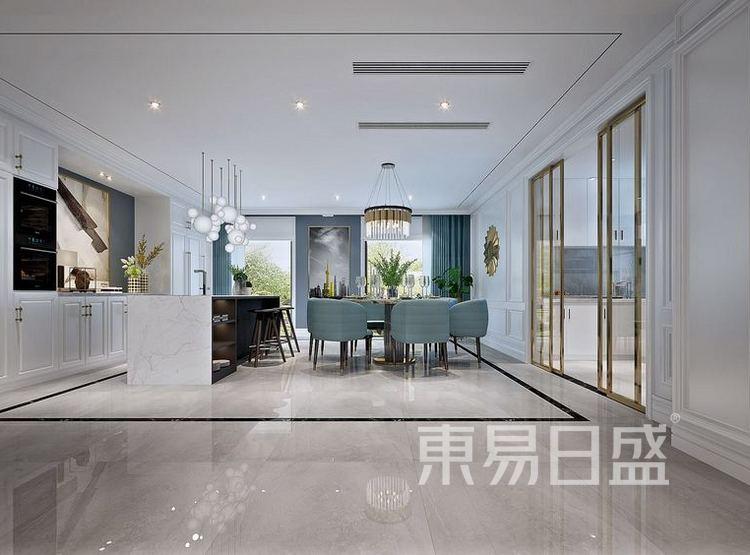 江杨家园100平三居室现代轻奢风格装修设计案例——餐厅