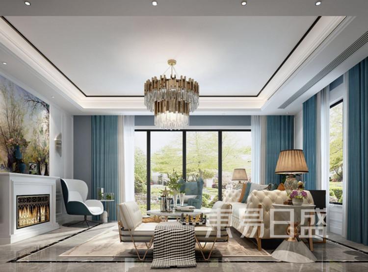 江杨家园100平三居室现代轻奢风格装修设计案例——客厅