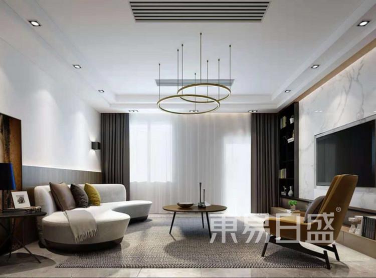 江杨家园90平三居室现代风格装修设计案例——客厅