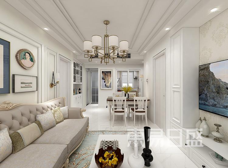 江杨家园80平二居室欧式风格装修案例装修效果图——客厅