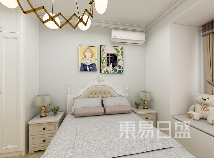 江杨家园80平二居室欧式风格装修案例装修效果图——次卧