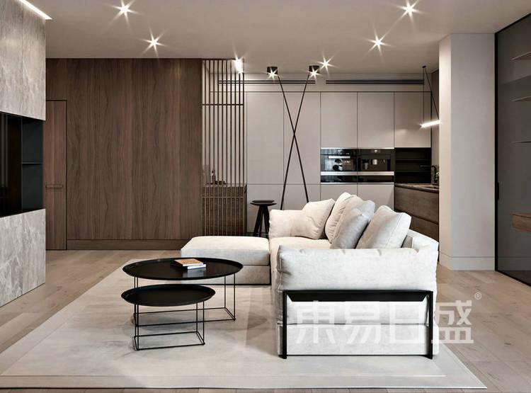 江杨家园130平现代简约三居室装修设计案例——客厅