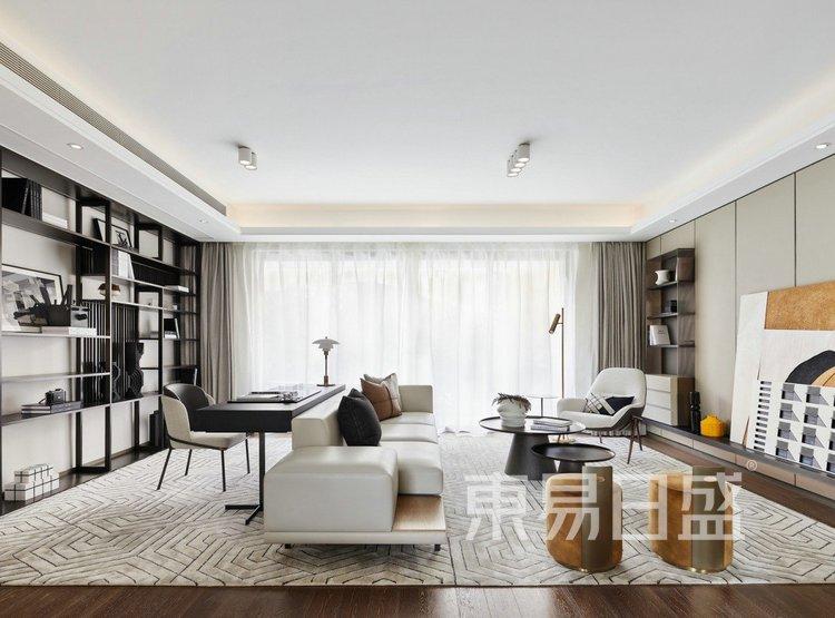 江杨家园140平高级现代灰三居室装修设计案例——客厅