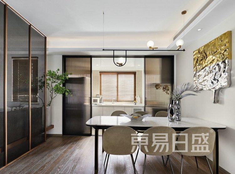 江杨家园140平高级现代灰三居室装修设计案例——餐厅