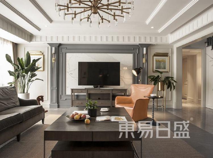 江杨家园200平三居室是美式风格装修设计案例——客厅
