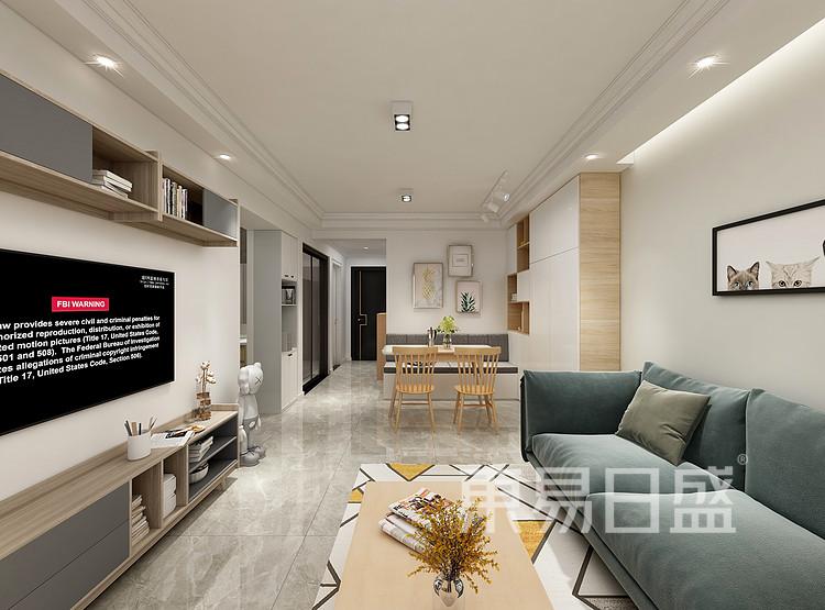 嘉邦小区90平三居室北欧风装修设计案例家装效果图——客厅