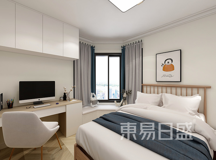 嘉邦小区90平三居室北欧风装修设计案例家装效果图——卧室