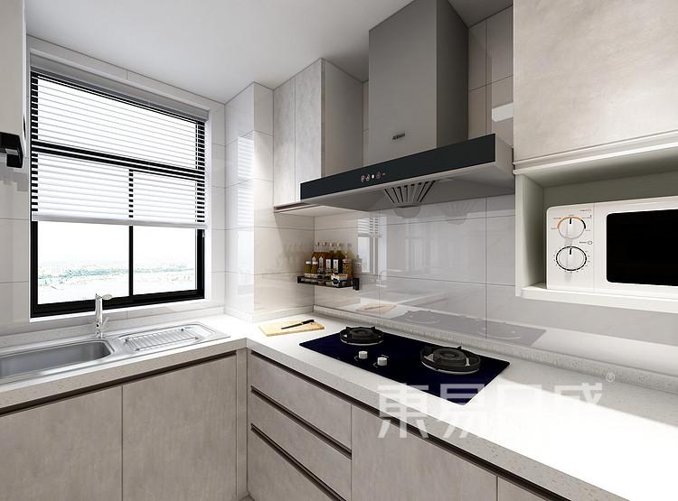 嘉邦小区90平三居室北欧风装修设计案例家装效果图——厨房