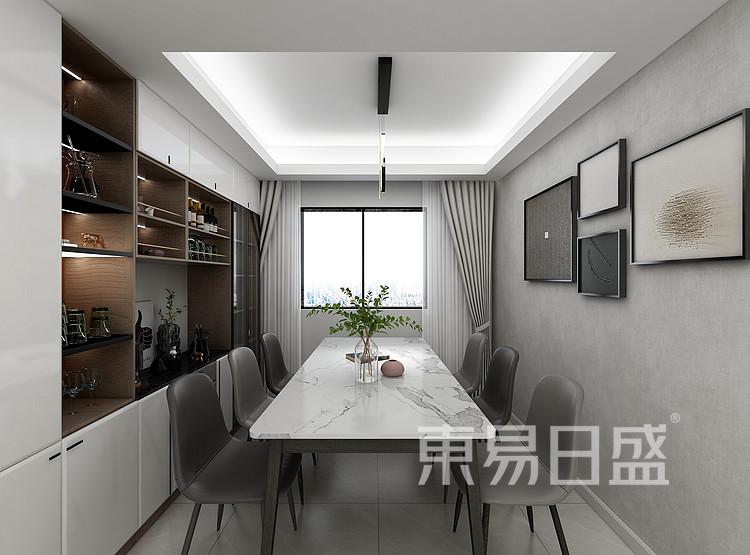 江杨家园200平现代风格装修设计案例家装效果图——餐厅